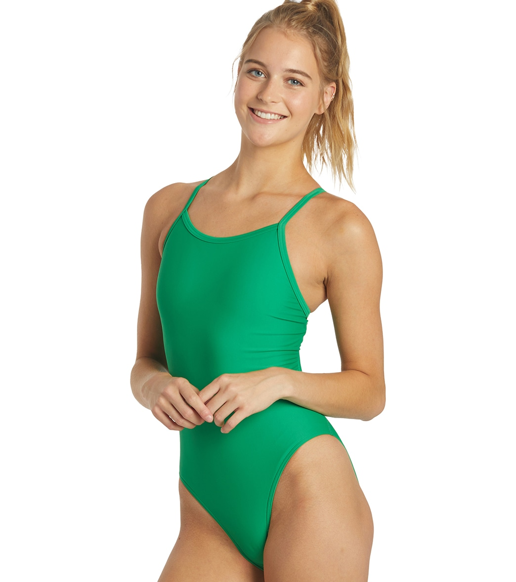 iswim essential solid thin strap one piece swimsuit at swimoutlet com