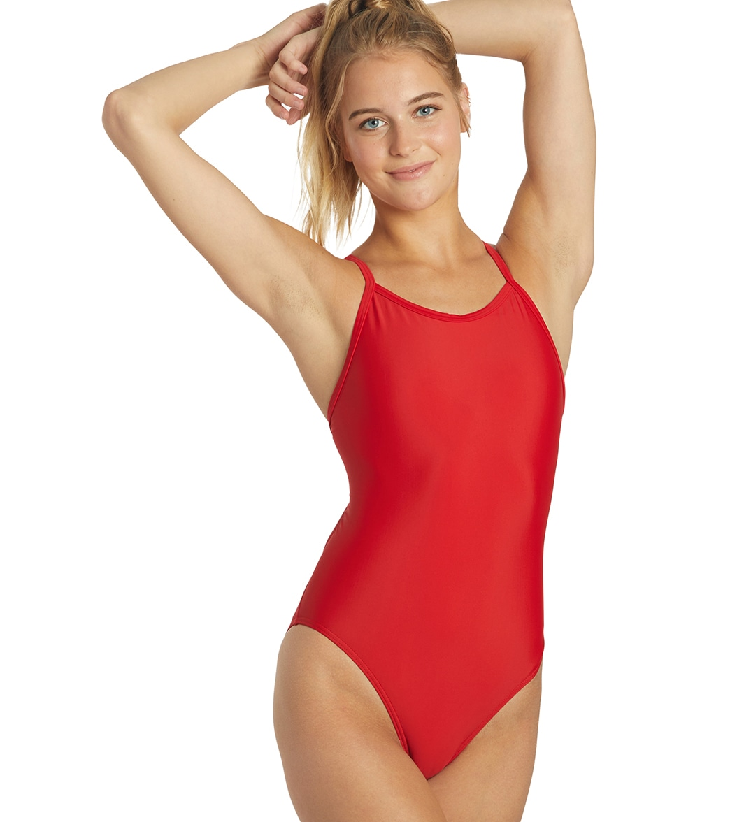 0a5dc97b23c4b iSwim Essential Solid Thin Strap One Piece Swimsuit at SwimOutlet.com