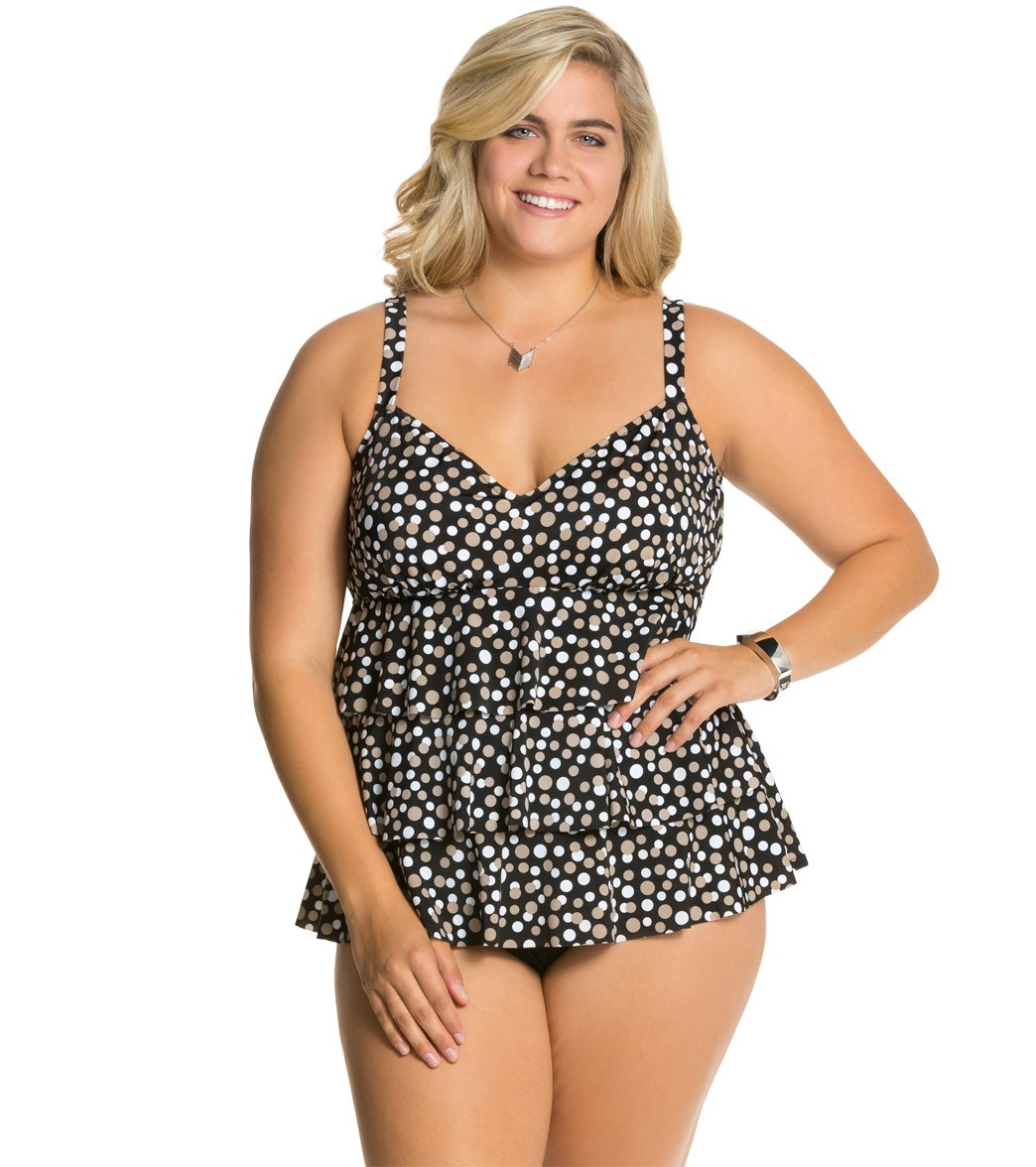 8e223c53976df ... Plus Size Dots At Play Triple Tier Fauxkini One Piece Swimsuit Play  Video. MODEL MEASUREMENTS