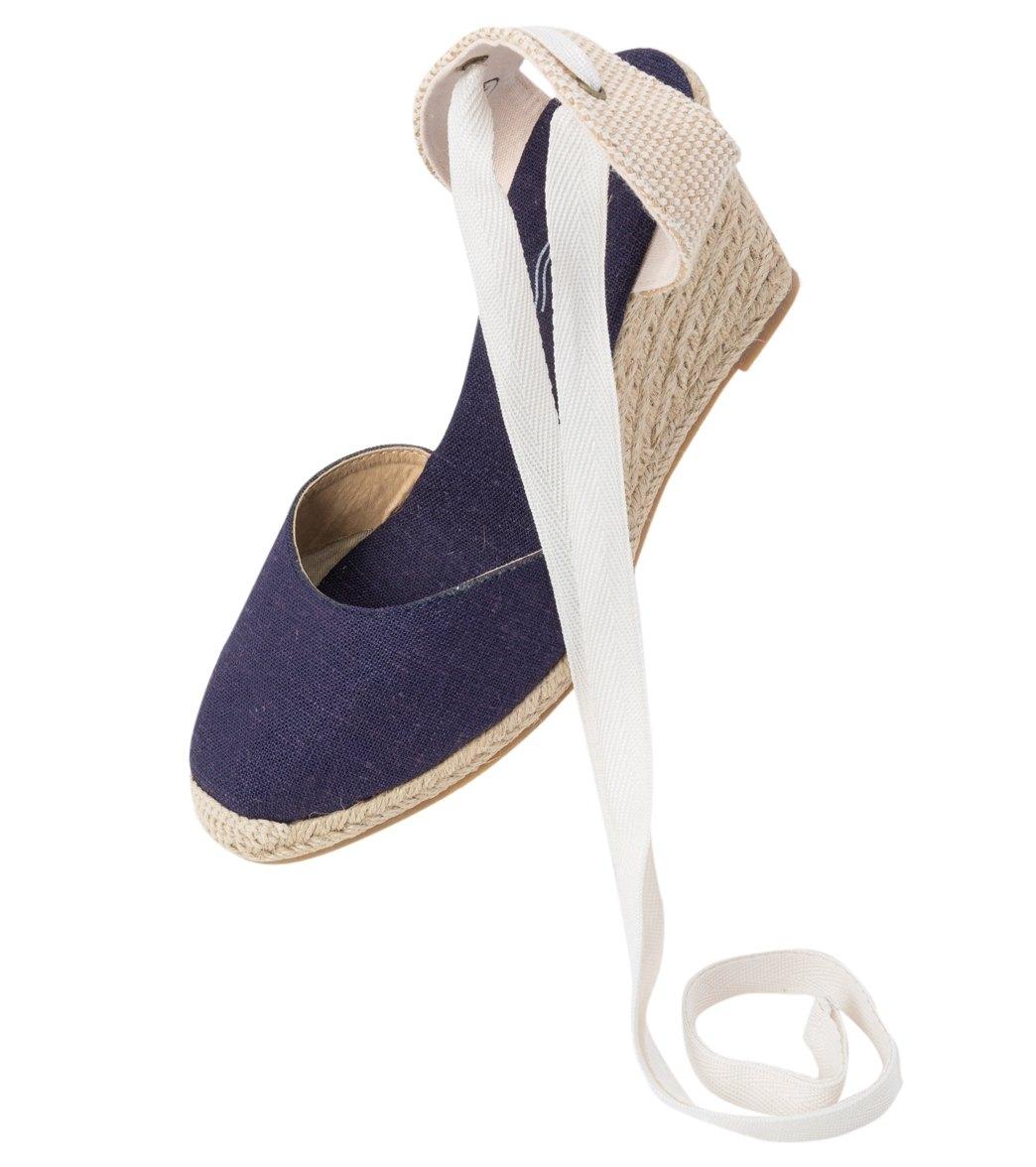 87070e29a95 Soludos Women s Navy Linen Tall Wedge Sandal at SwimOutlet.com ...