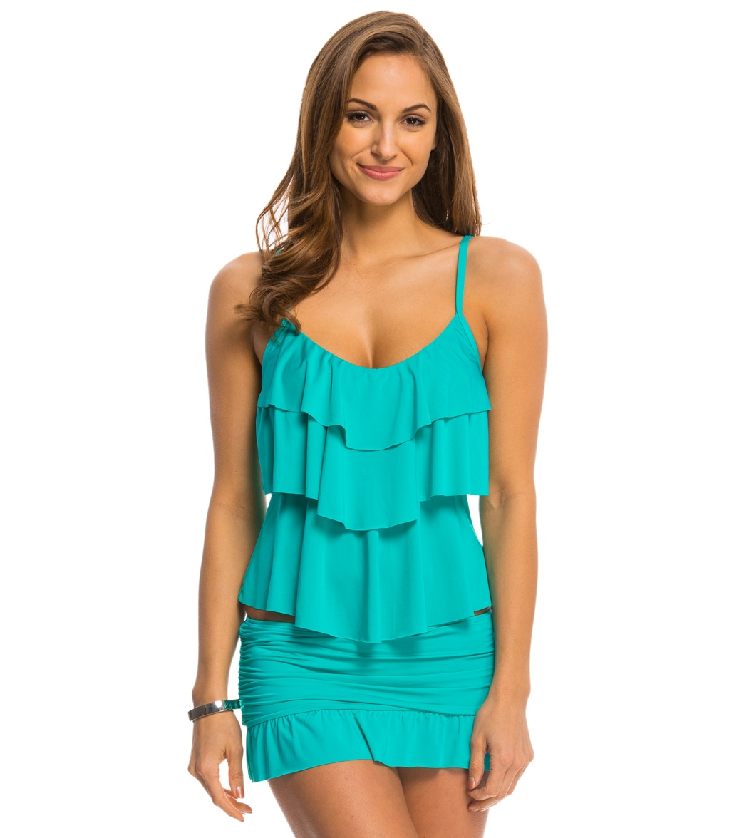 18b160aeeb1bd Kenneth Cole Reaction Solid Ruffle Tiered Tankini Top at SwimOutlet ...