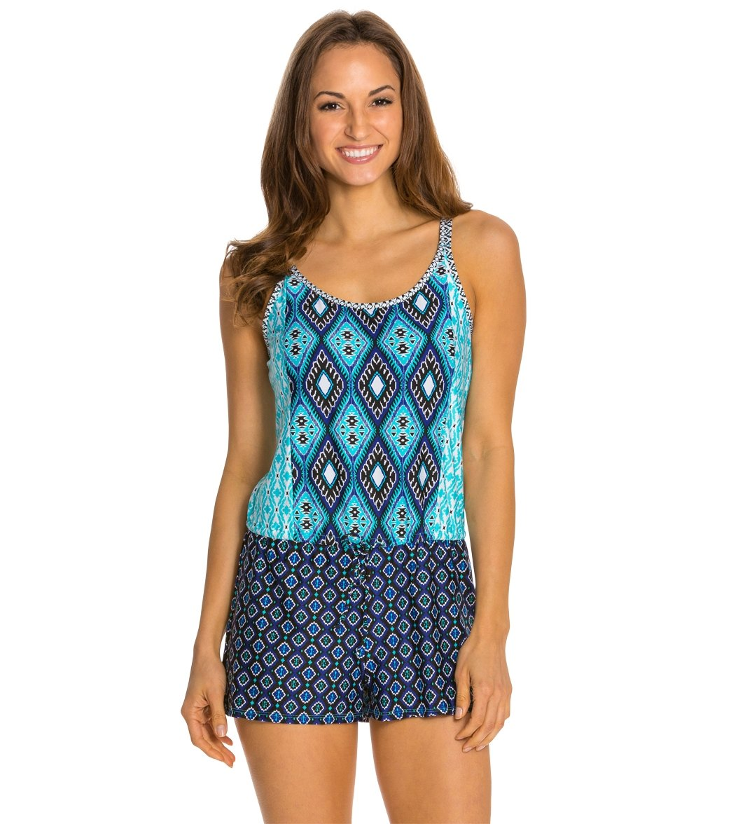 6917d4e15c Kenneth Cole Reaction Coastal Escapade Drawstring Romper at SwimOutlet.com  - Free Shipping