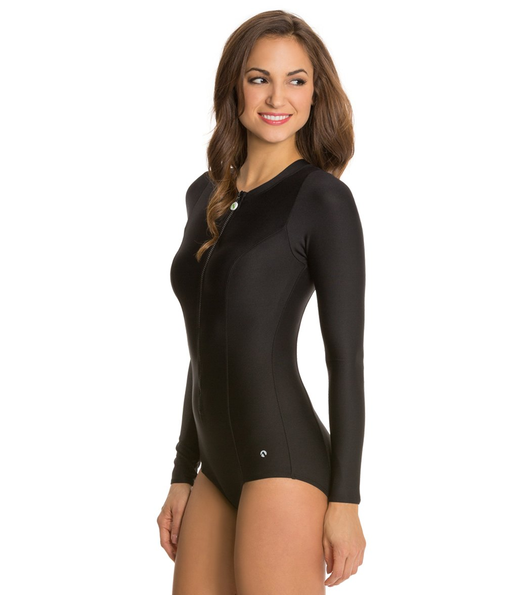7669af4698 Next Good Karma Solid Malibu Zip Long Sleeve One Piece Swimsuit at ...