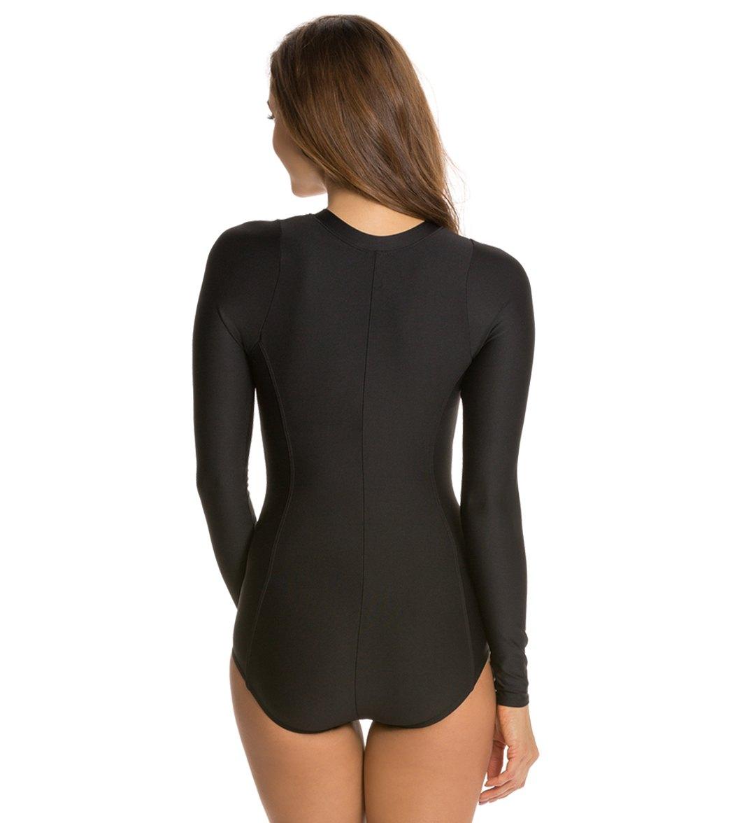 d3b6bca0cb Next Good Karma Solid Malibu Zip Long Sleeve One Piece Swimsuit at  SwimOutlet.com - Free Shipping
