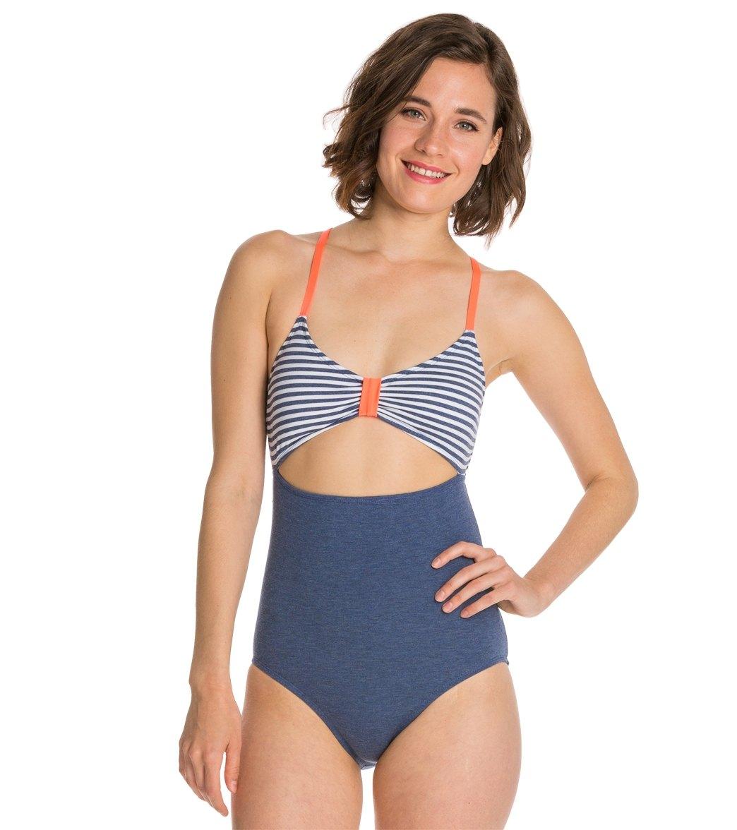 42b051e2a6d7b Splendid Sporty Blues Peek A Boo One Piece Swimsuit at SwimOutlet ...