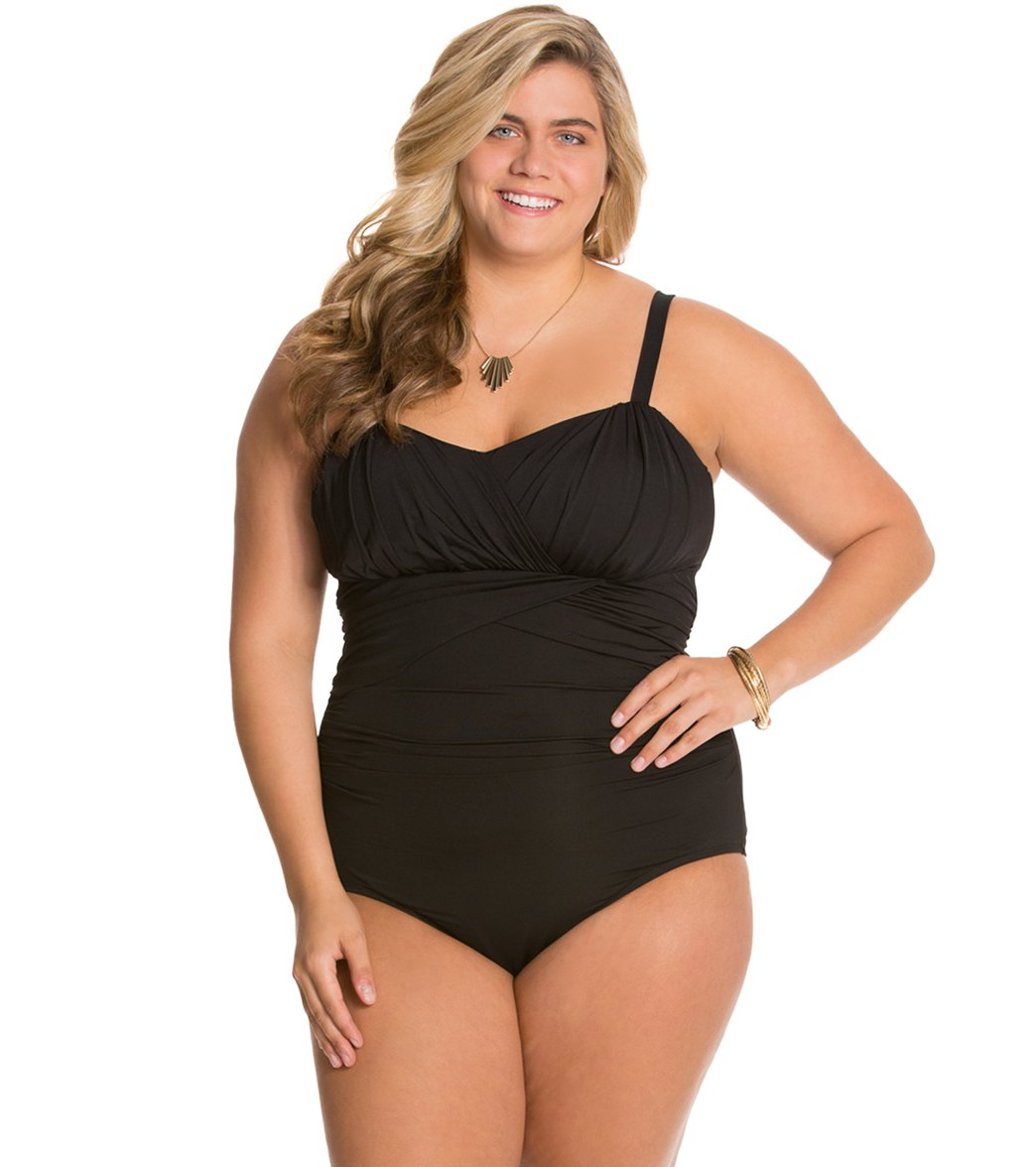 0f6752937ca ... Plus Size Drapey Solids Goddess Mio One Piece Swimsuit Play Video.  MODEL MEASUREMENTS