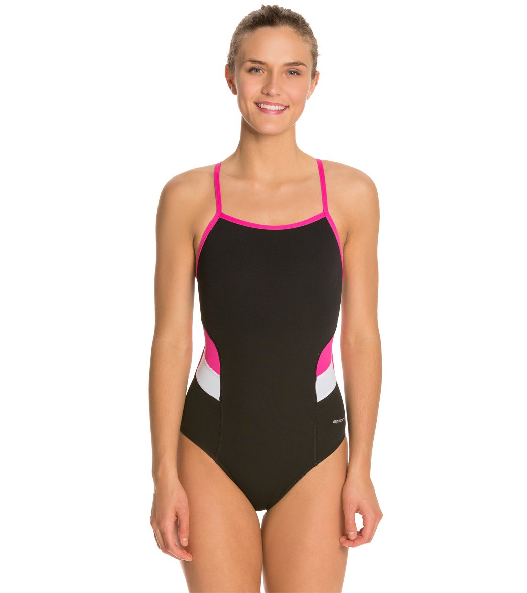 99a7c33c1d066 Sporti Poly Pro Splice Thin Strap One Piece Swimsuit at SwimOutlet.com