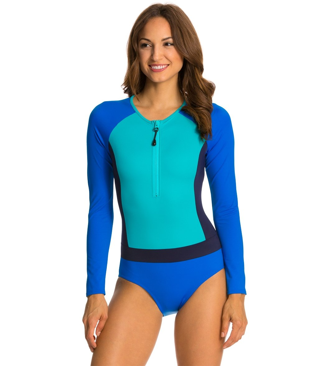 50b5af008c1f1 Spanx Color Block Long Sleeve One Piece Swimsuit at SwimOutlet ...