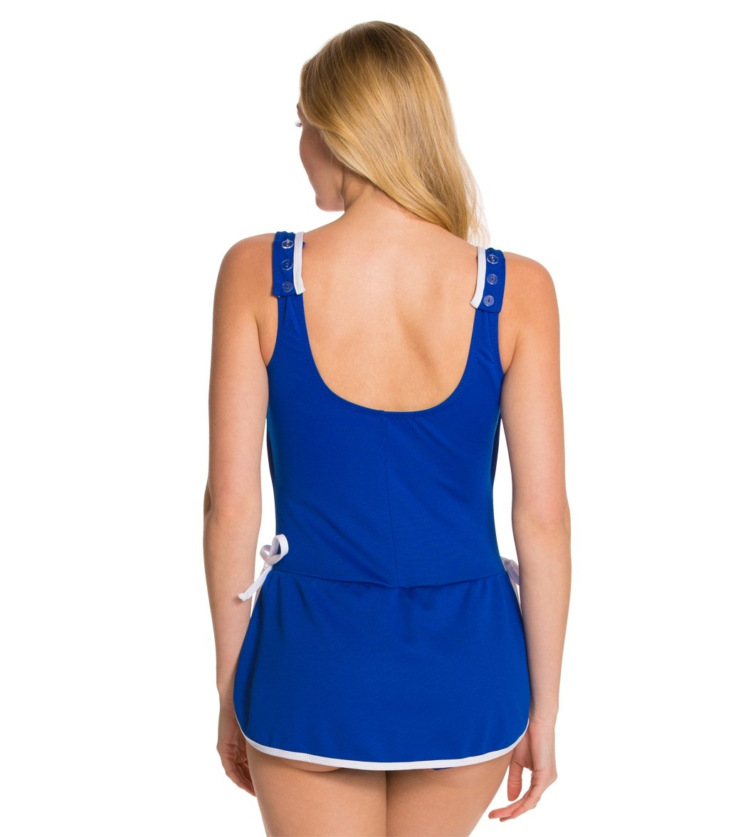 1cc957a773 Tuffy Chlorine Resistant Polyester Tie Side Swim Dress at SwimOutlet.com -  Free Shipping