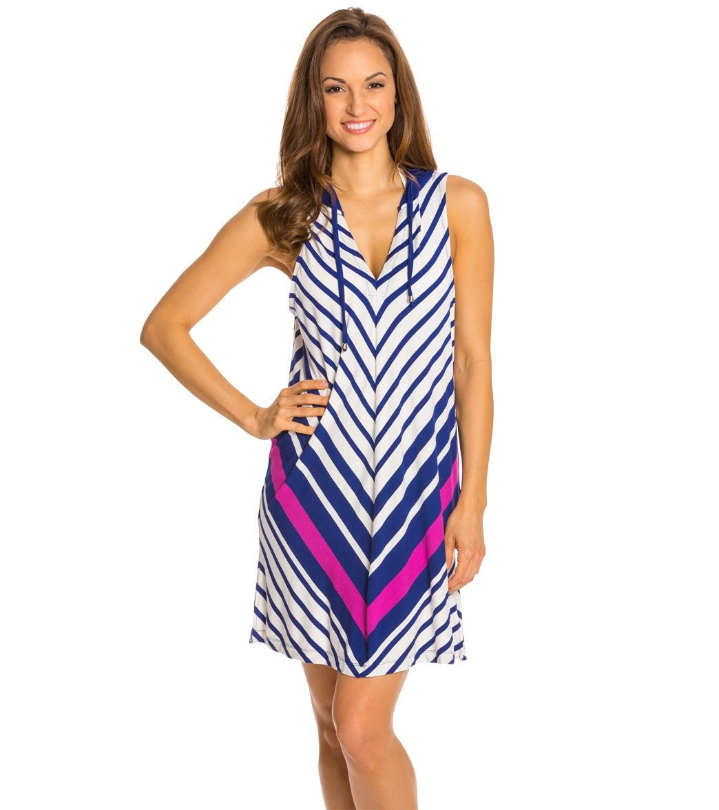 74c28bd34d161 Dotti Stripe City Hoodie Cover Up Tunic at SwimOutlet.com - Free Shipping