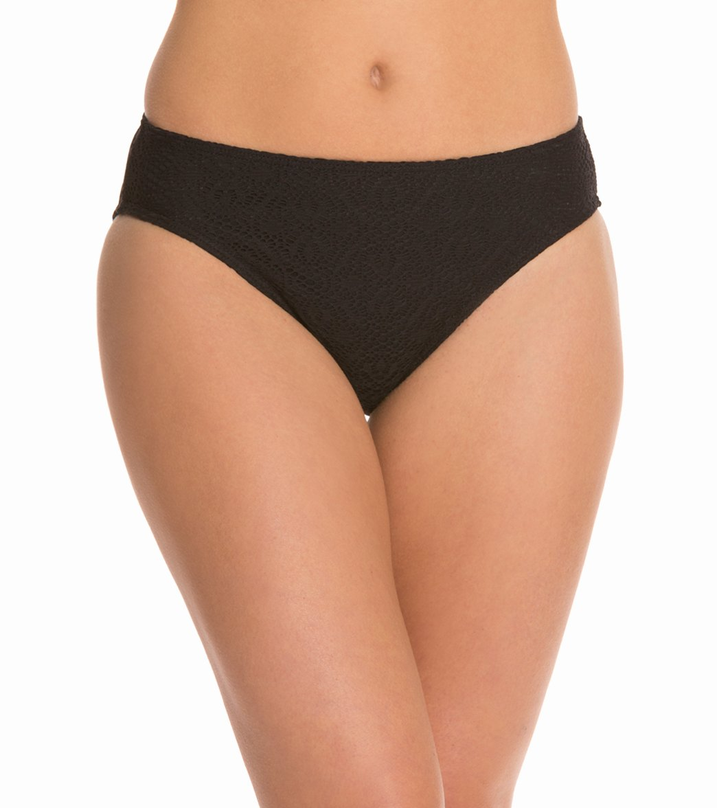 a1eae22c77e95 Sunsets Swimwear Black Sand Crochet Mid-Rise Bikini Bottom at  SwimOutlet.com - Free Shipping