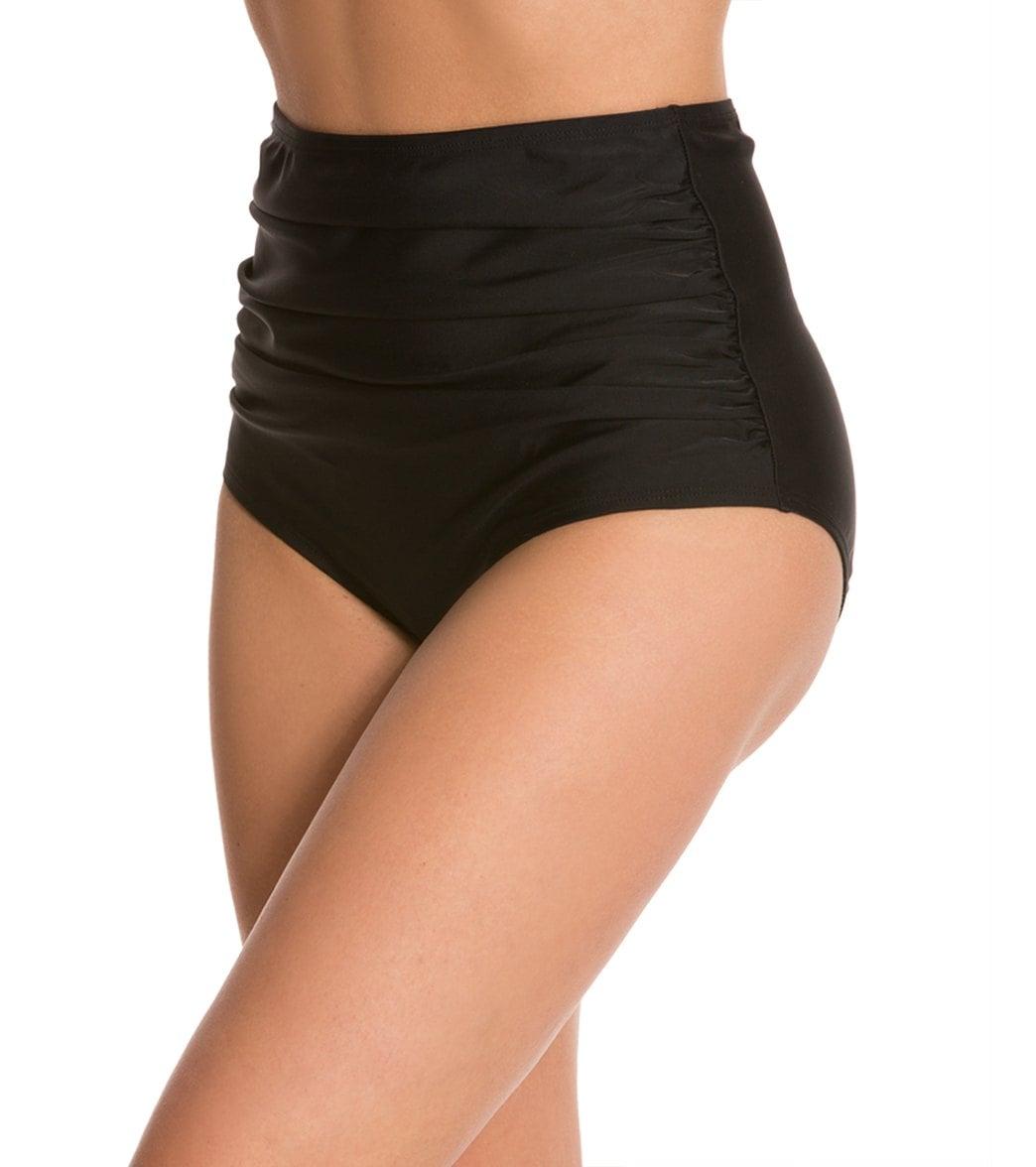 9bf25d9bf3 Ceeb Solid Ruched High Waist Bikini Bottom