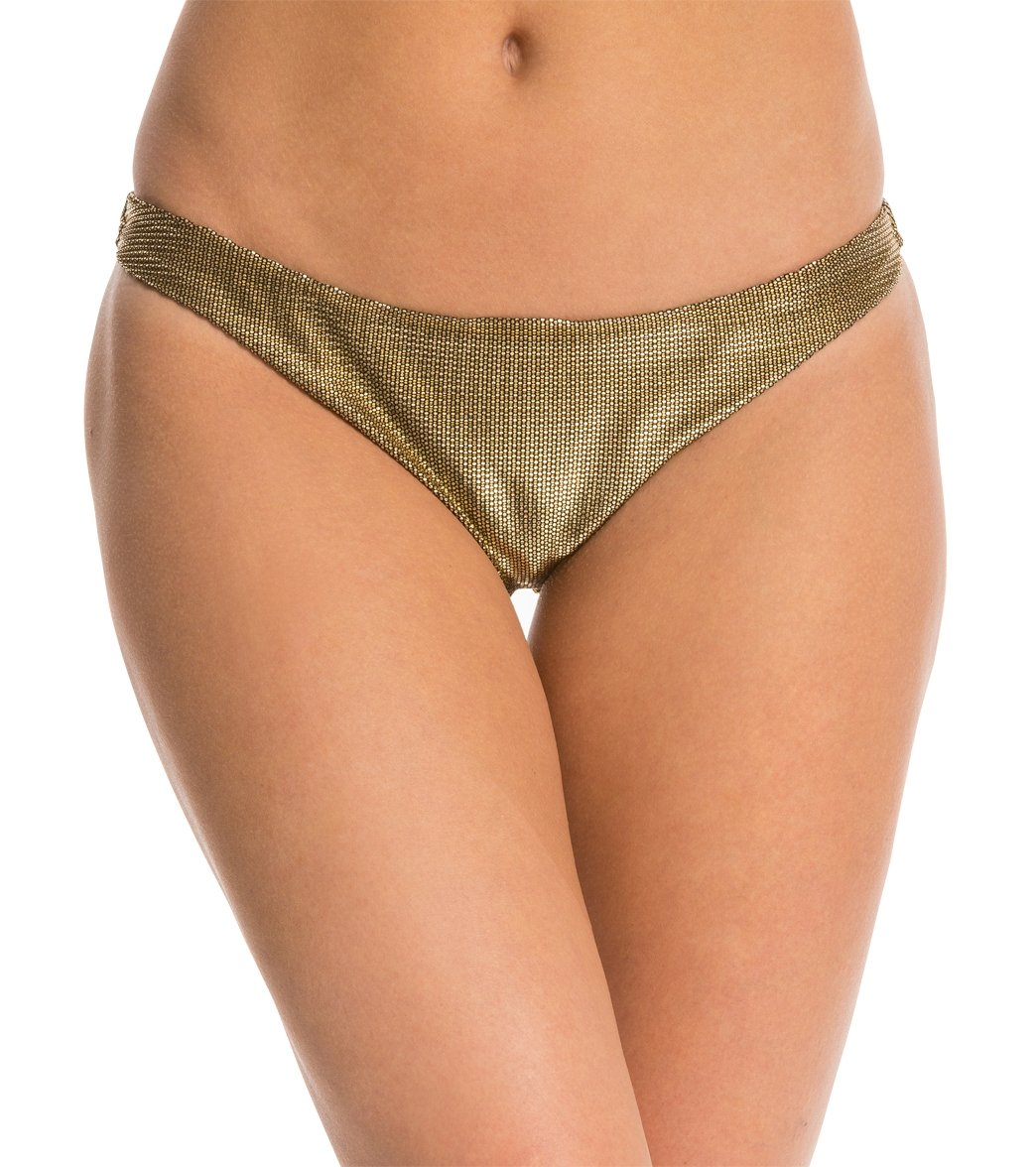58fcda3c89ffb Sauvage Gold Metallic Full Low Rise Bottom at SwimOutlet.com - Free Shipping