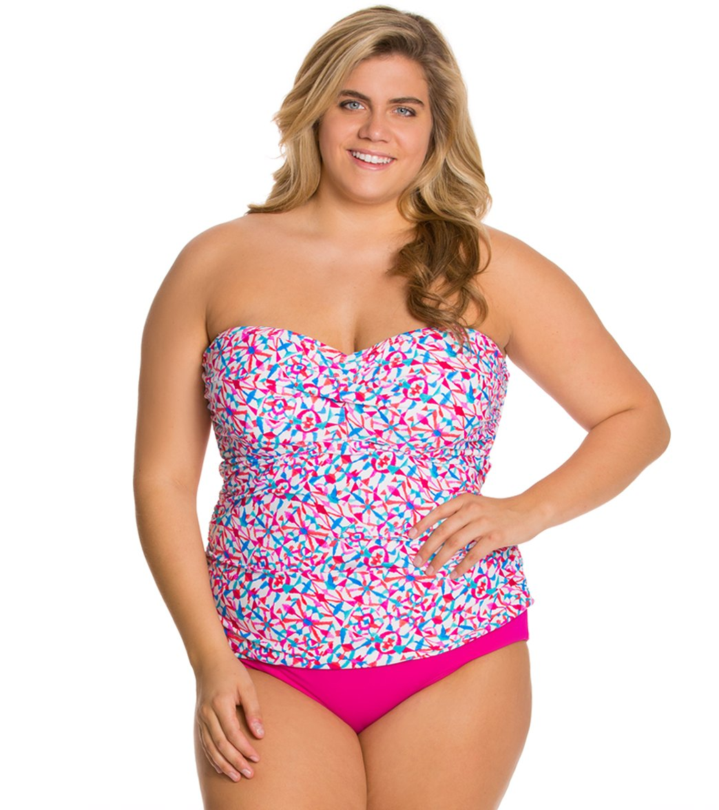 128a46ff5a97d Sunsets Plus Size Surfside Shirred Bandeau Tankini Top (D DD) at ...