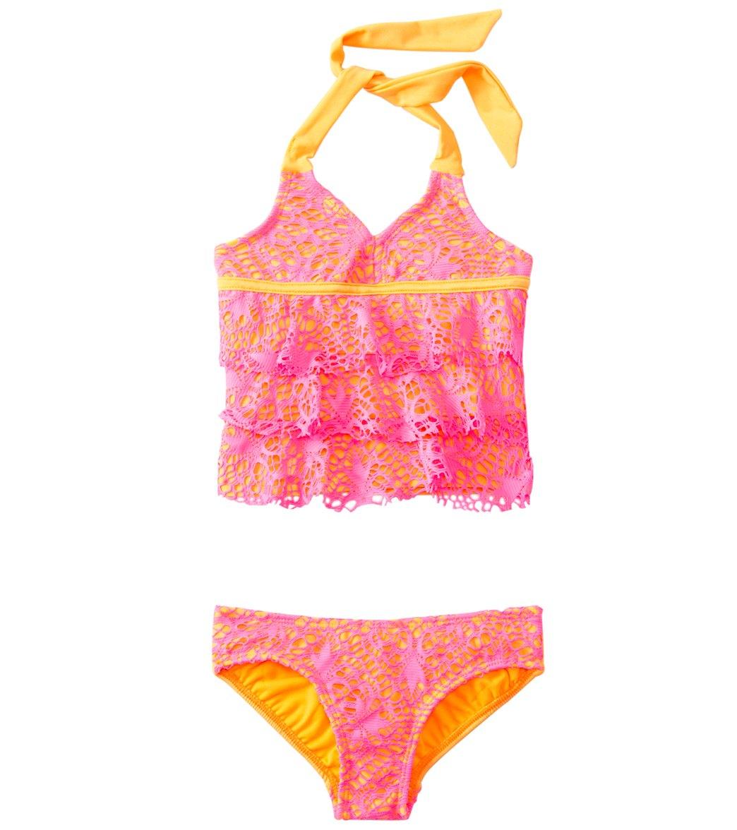 3221ef5e14c Kensie Girl Ibiza Crochet Ruffle Tankini Two Piece Set (7yrs-14yrs) at  SwimOutlet.com