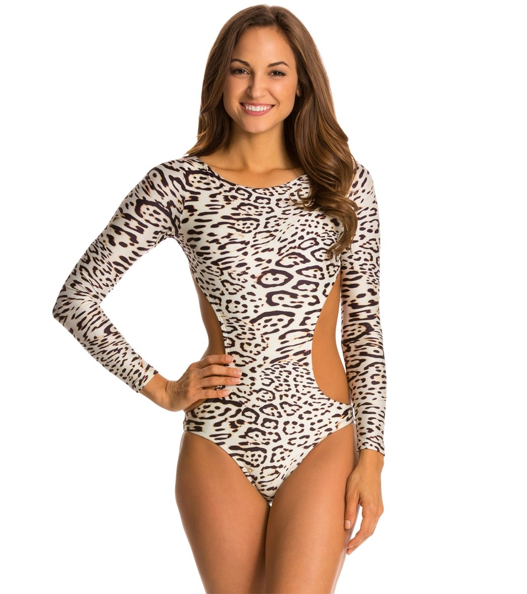 f95afedf8c707 Vix Swimwear Kai Off White Ana L/S Cut Out One Piece Swimsuit at ...