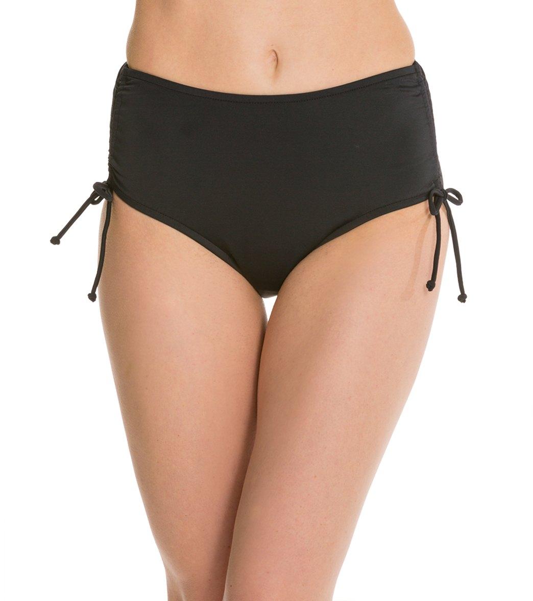 bcad84a04d710 Caribbean Joe Solid Tummy Control Adjustable Bikini Bottom at SwimOutlet.com