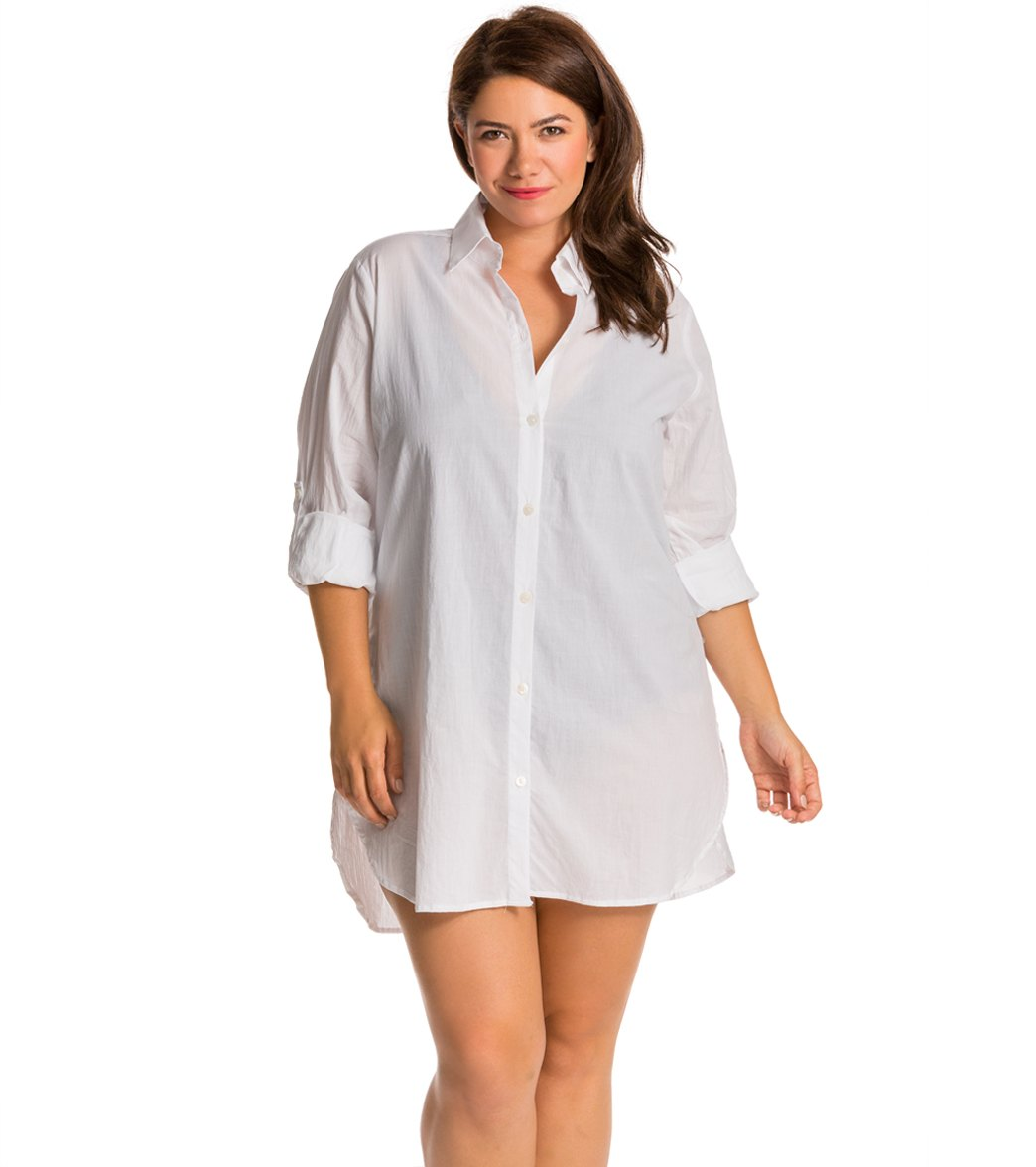 0da7d16a64ed3 Tommy Bahama Plus Size Crinkle Boyfriend Cover Up Shirt at SwimOutlet.com - Free  Shipping