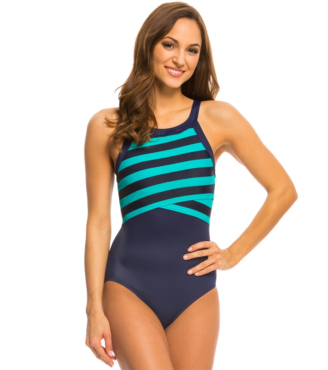 DKNY Iconic Stripes High Neck One Piece Swimsuit at ... - photo#46