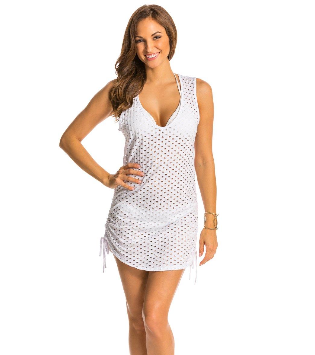 256b8f1f25 ... Eco Swim Organic Solid Jacquard Side Shirred Cover Up Dress. Play  Video. MODEL MEASUREMENTS