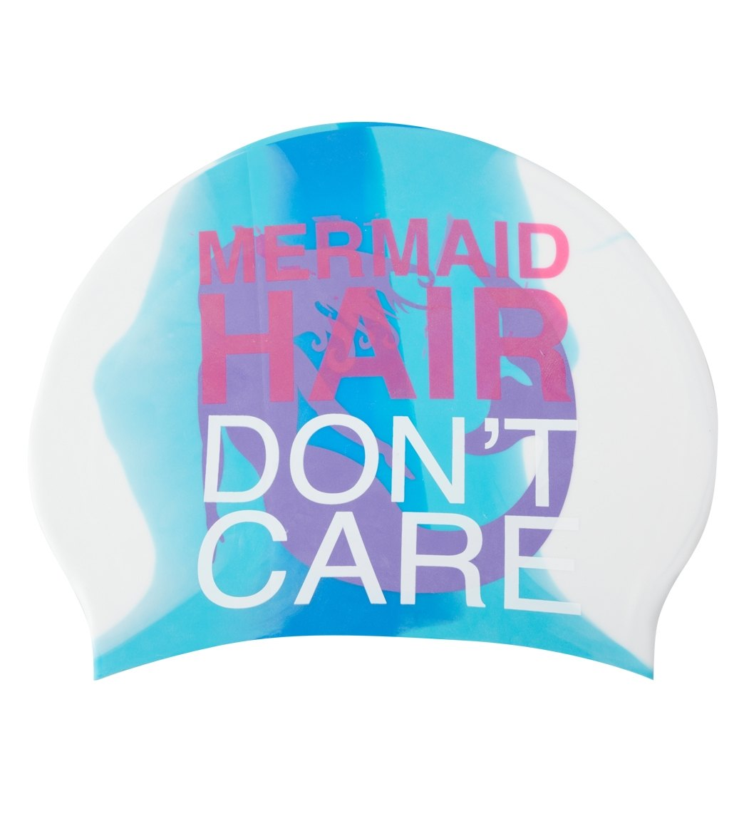 Sporti Mermaid Long Hair Don T Care Silicone Swim Cap At