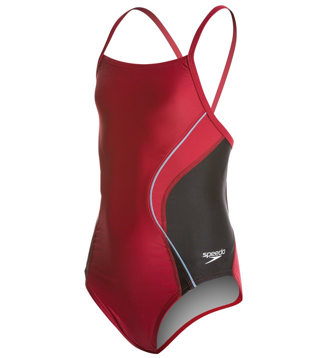 55c0c3a05b Speedo PowerFLEX Eco Revolve Splice Energy Back Youth Swimsuit at  SwimOutlet.com - Free Shipping
