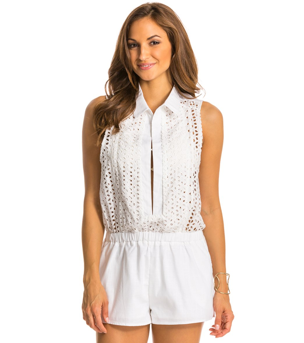 Red Carter Neo Bohemia Eyelet Cover Up Romper Cotton