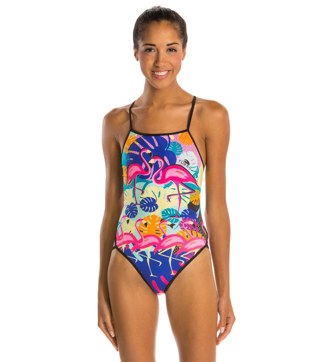 87e6fb92b5 Turbo Flamingo Thin Strap One Piece Swimsuit at SwimOutlet.com - Free  Shipping