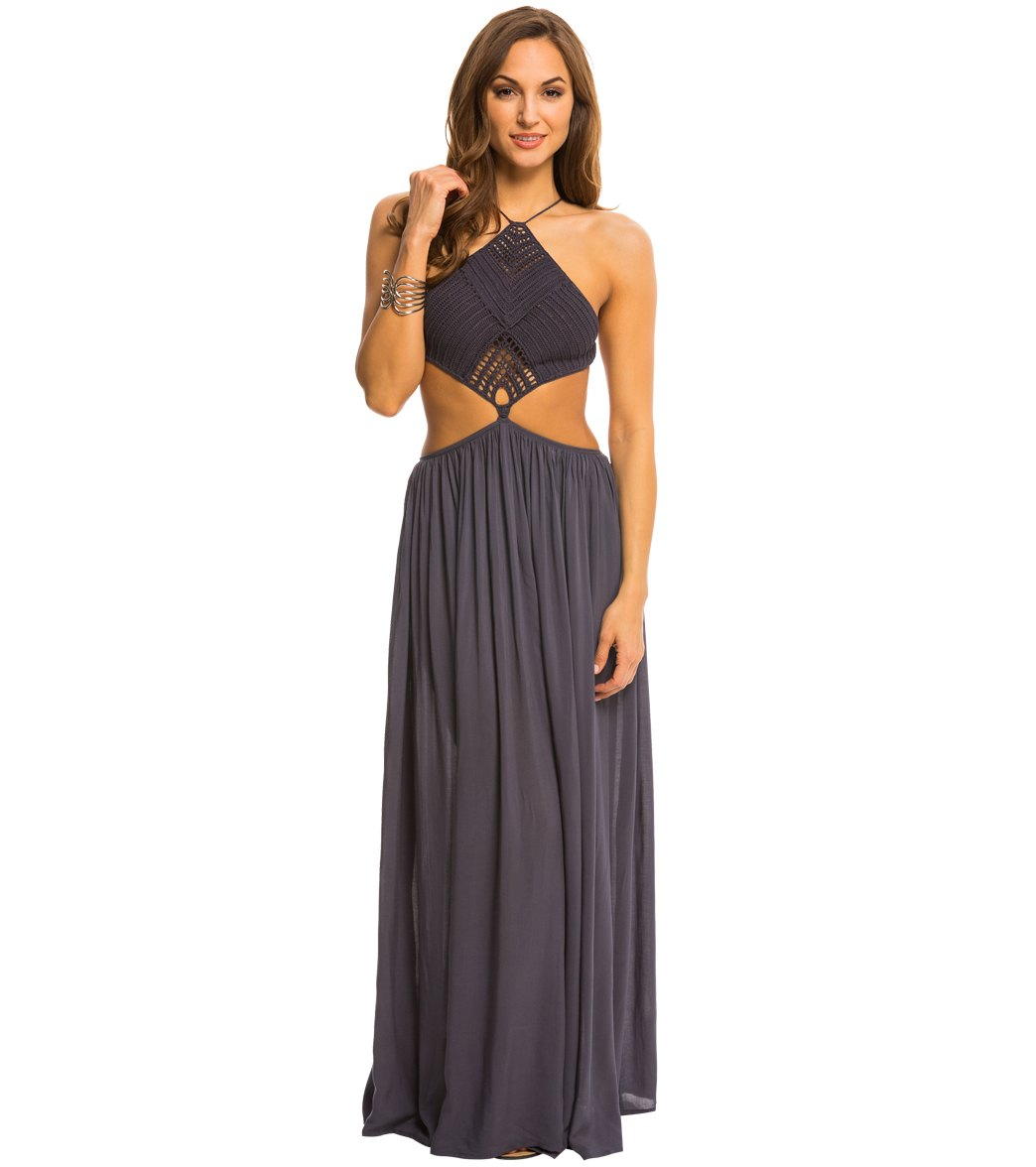 0e22f60bcf733 Indah Need Want Love Revel Solid Crochet Halter Cutaway Cover Up Maxi Dress  at SwimOutlet.com - Free Shipping