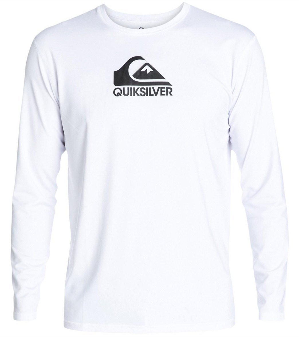 Activewear Tops Quiksilver Mens Solid Streak Long Sleeve Rashguard Ocean Blue Men's Clothing