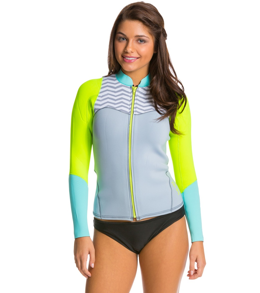 Roxy Women s 2mm XY Front Zip Long Sleeve Wetsuit Wetsuit Jacket ... a3c467348