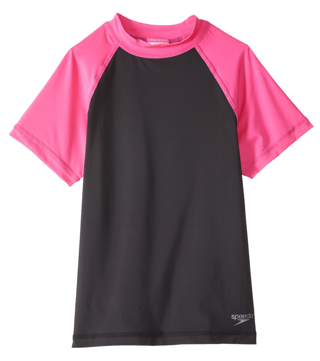 Short Sleeve Rashguard Swim Time Girls Colorblock UPF 50