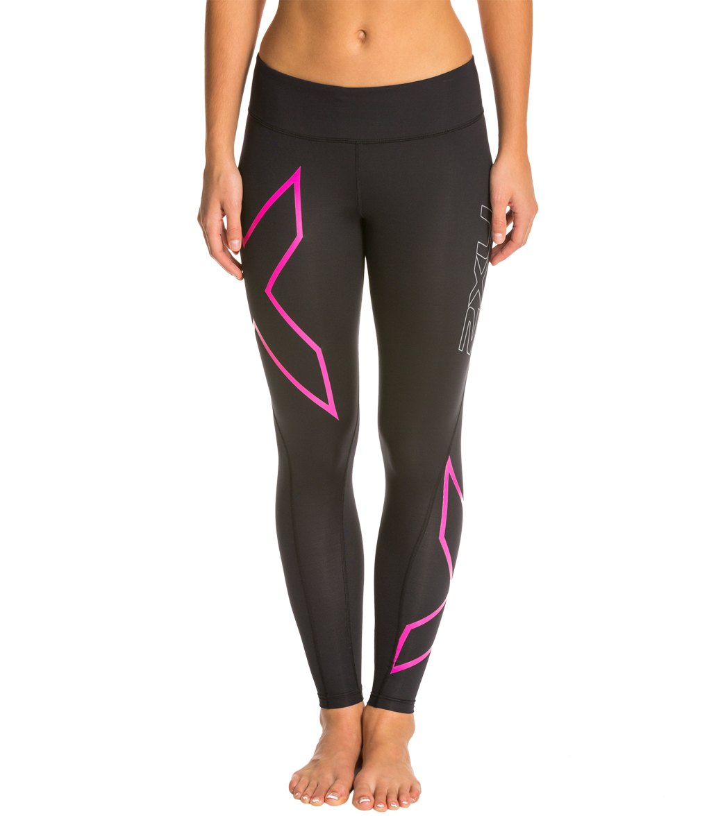 00d2860dd8d9f 2XU Women's Breast Cancer Awareness Mid-Rise Compression Tights at  SwimOutlet.com - Free Shipping