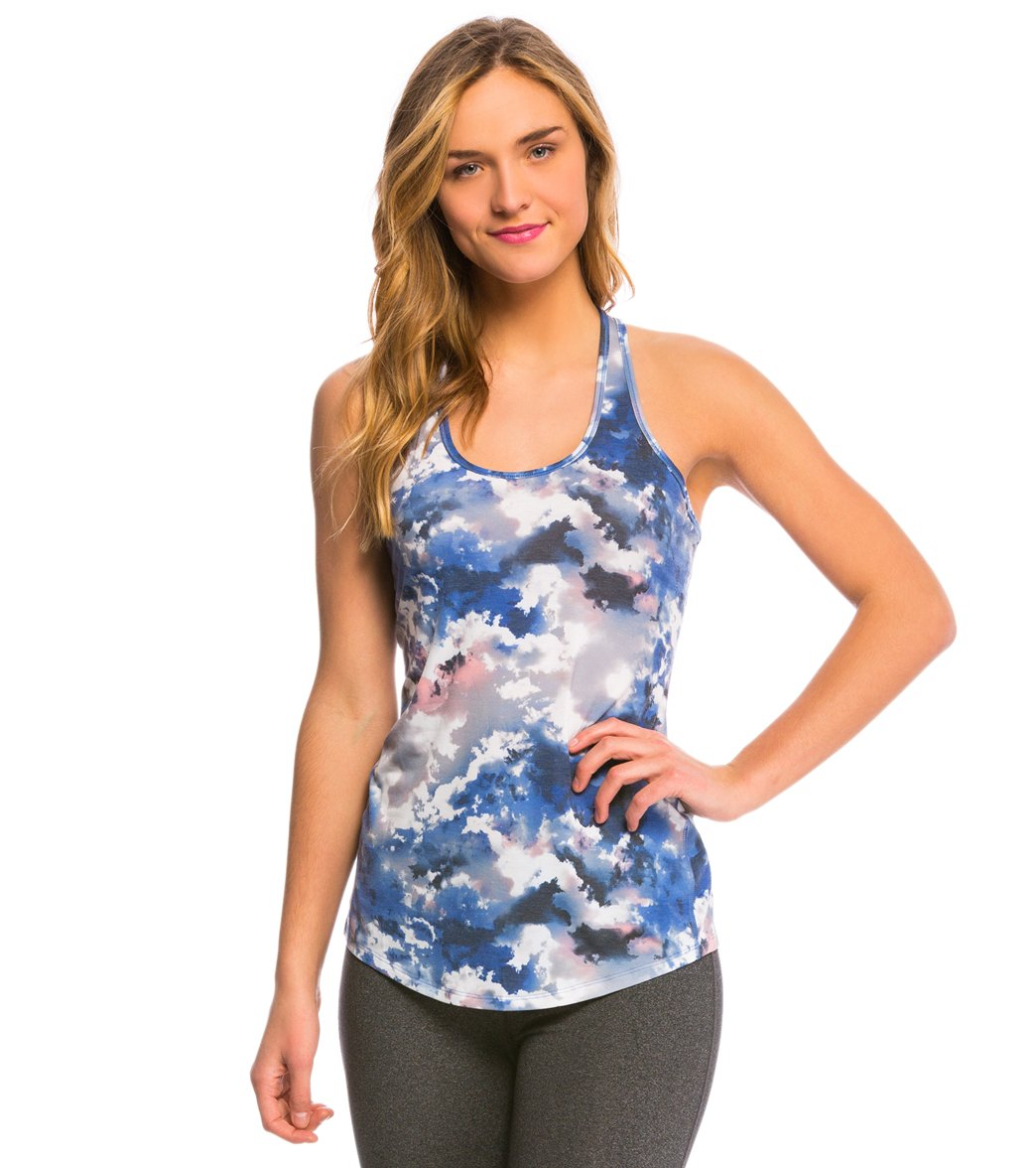687a987a4f4911 ... Lucy Women s Print Workout Racerback Tank Top. Play Video. MODEL  MEASUREMENTS