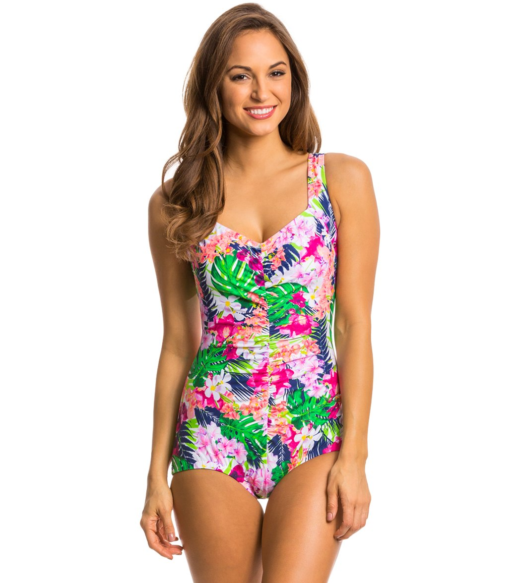 9bc6cd3e2b602 ... Shirred Front Girl Leg One Piece Swimsuit. Play Video. MODEL  MEASUREMENTS