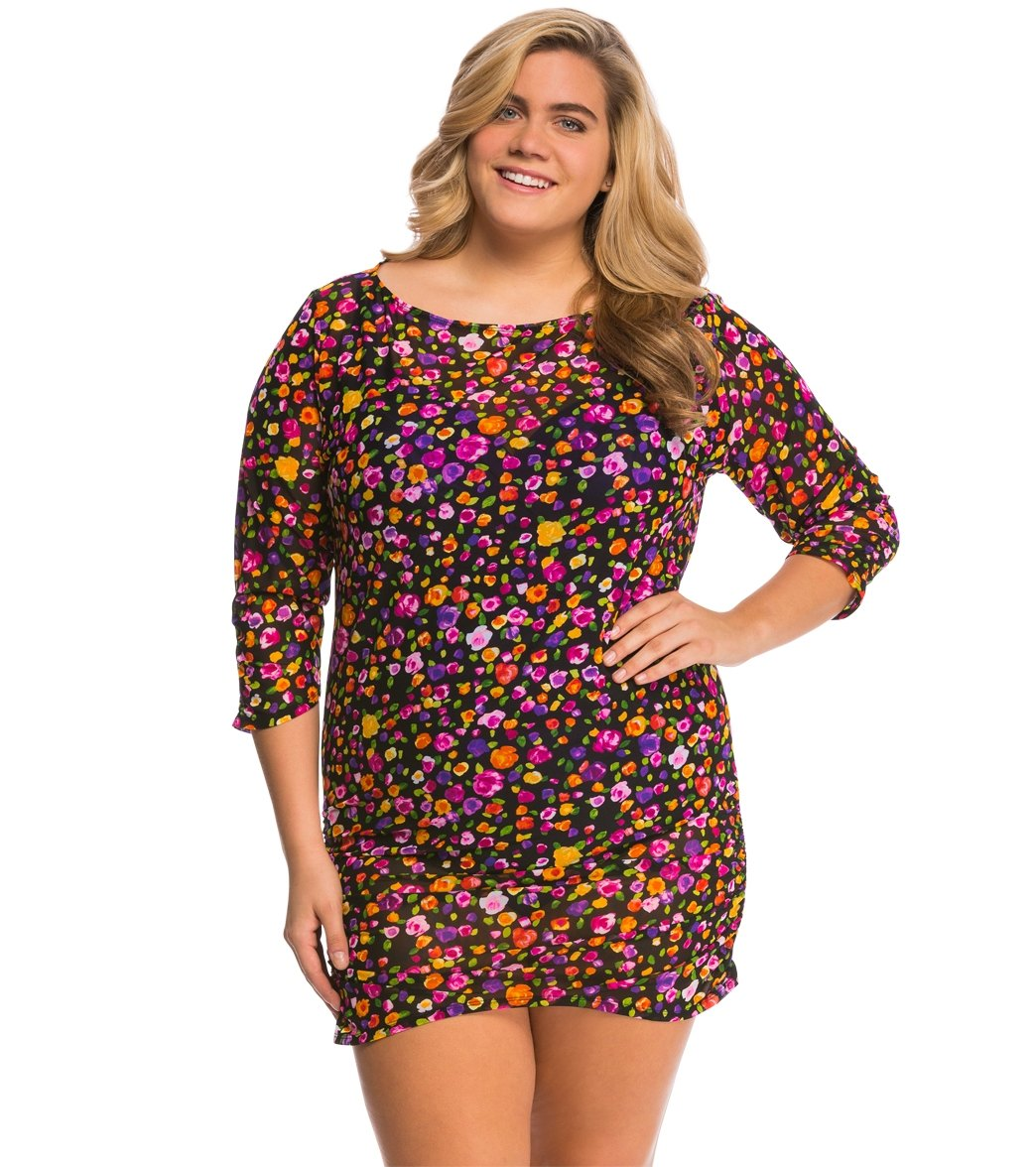ca4202aa29 Anne Cole Plus Size Rosebud Mesh Cover Up Tunic at SwimOutlet.com - Free  Shipping