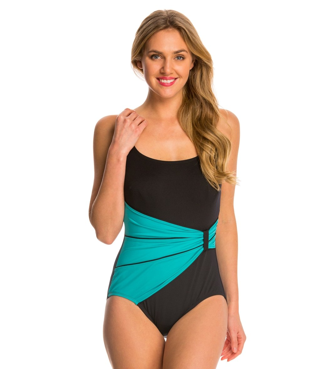 dc79cfe198a ... Gabar Pool Colorblocking Draped Sash One Piece Swimsuit. Play Video.  MODEL MEASUREMENTS