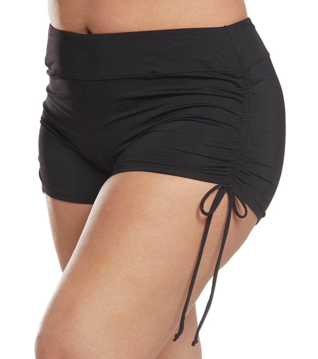 49e9b0038bee3a Beach House Plus Size Solid Blake Adjustable Side Tie Swim Short at  SwimOutlet.com - Free Shipping