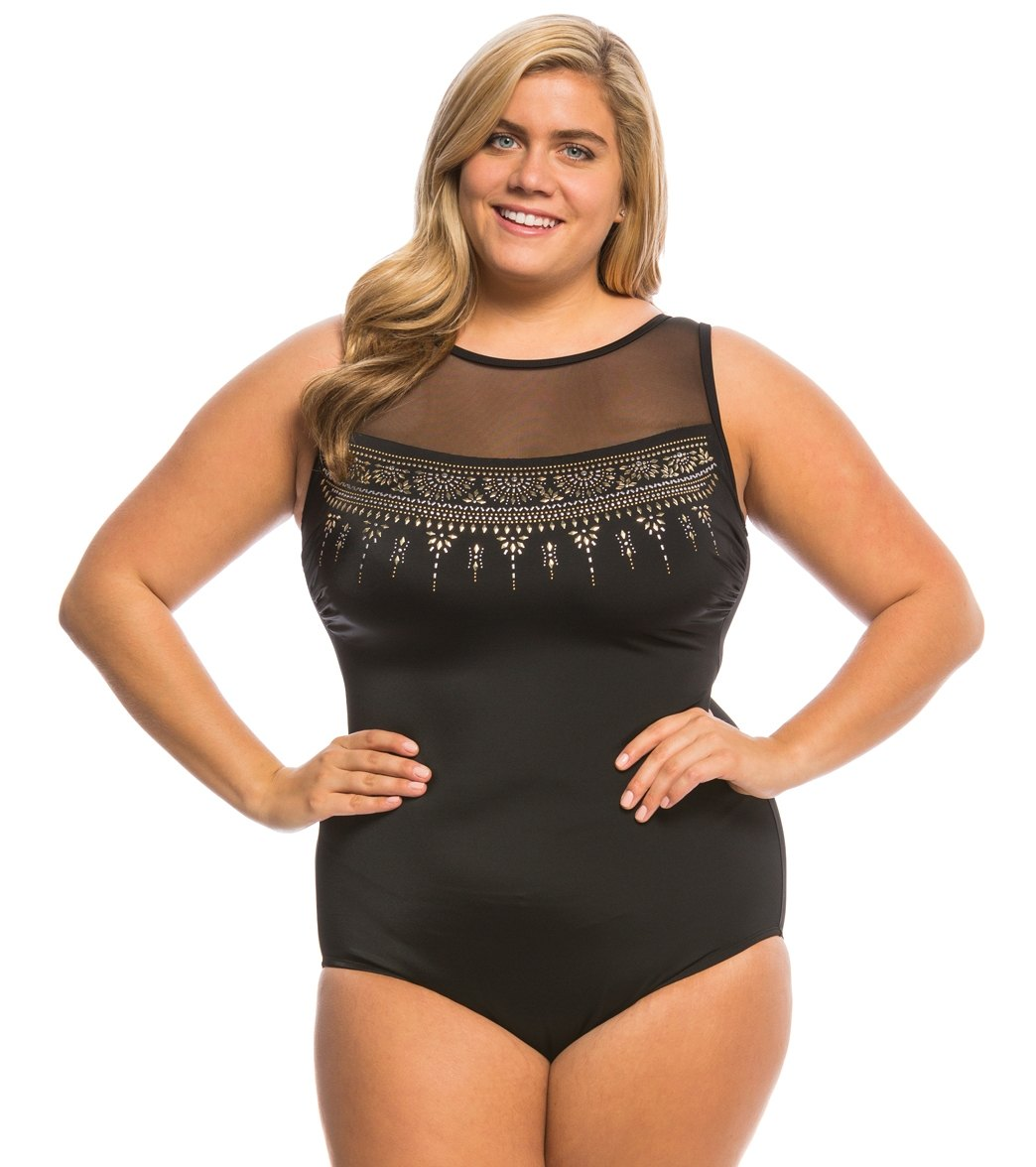 d937a9a2fd0 ... Plus Size Embellished Mesh Highneck One Piece Swimsuit. MODEL  MEASUREMENTS