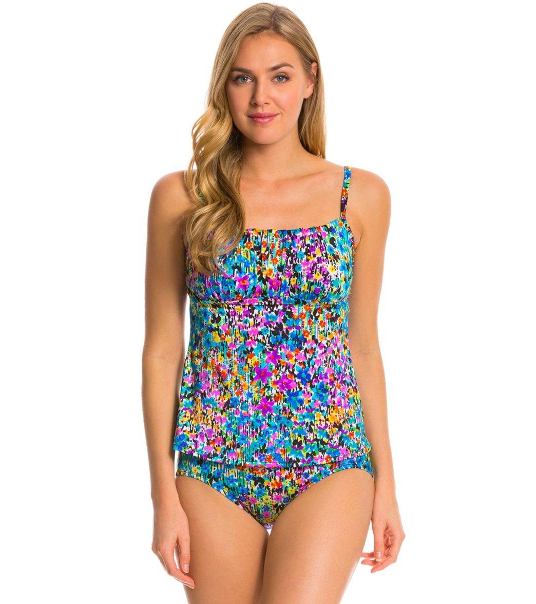 6ea9e0555f Longitude Star Quality Shirred Tankini Top at SwimOutlet.com - Free ...