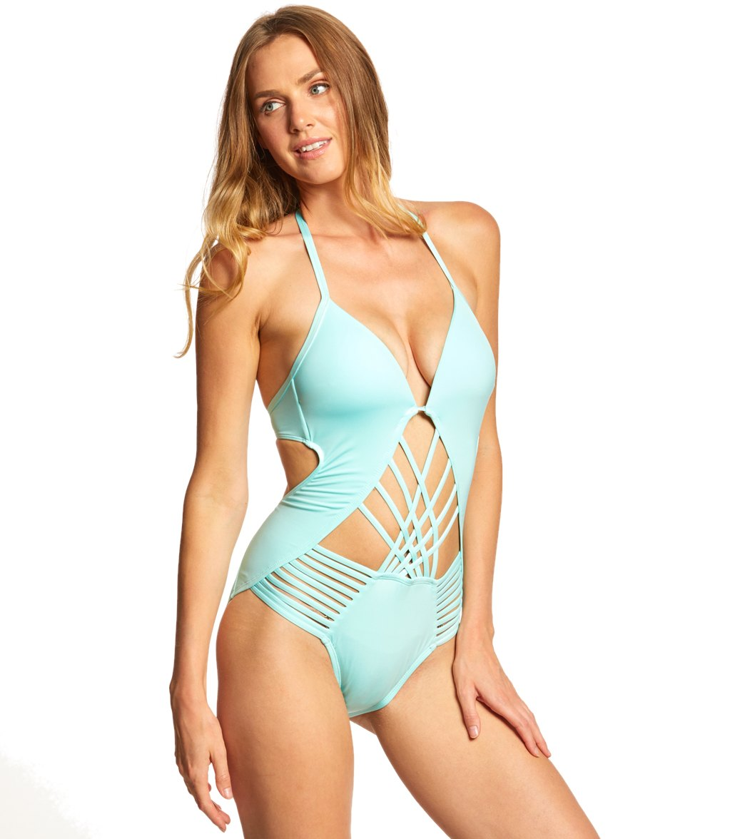 5af1013bce75a Kenneth Cole Swimwear Sexy Solids Push Up One Piece Swimsuit at  SwimOutlet.com - Free Shipping