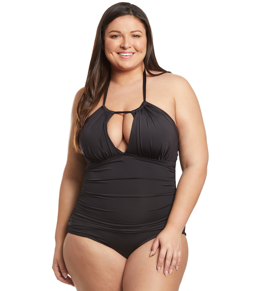 5d0a67c40d146 Kenneth Cole Reaction Plus Size High Neck One Piece Swimsuit at  SwimOutlet.com - Free Shipping