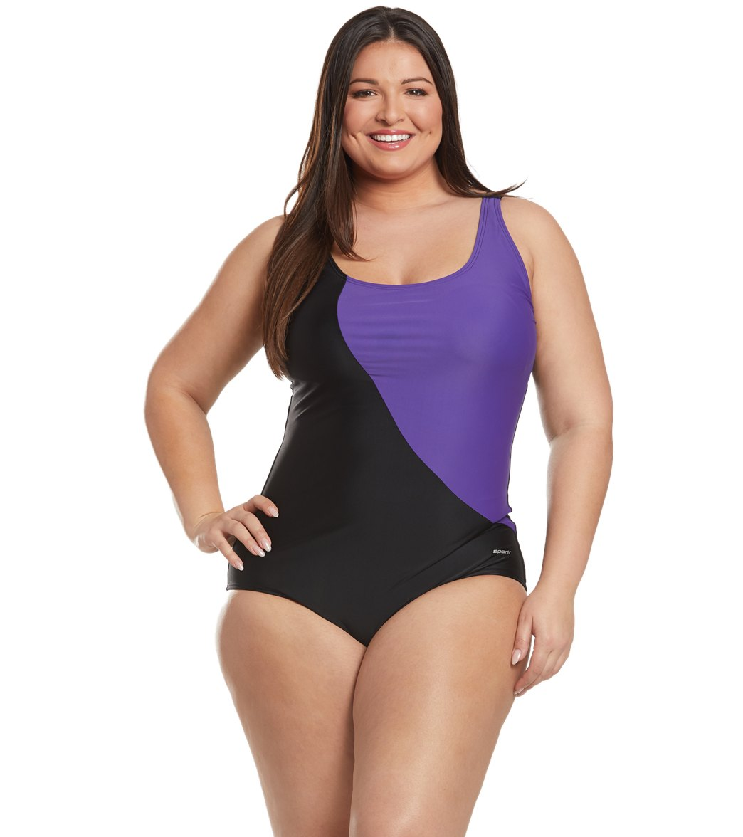 5612858f923f6 Sporti Plus Size Conservative Colorblock One Piece Swimsuit at  SwimOutlet.com