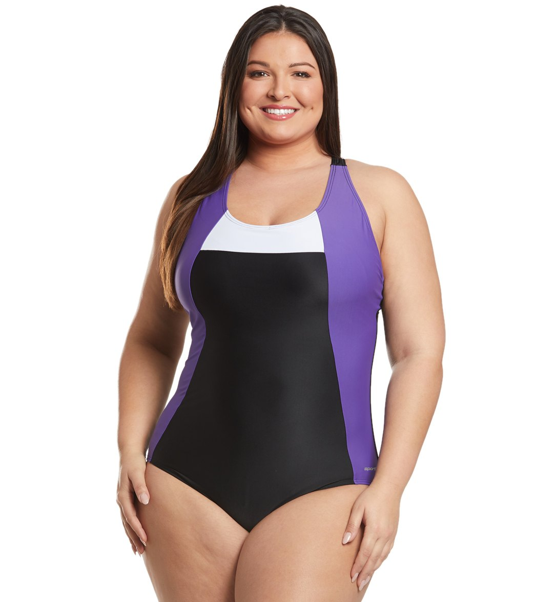 96625a25182eb Sporti Plus Size Moderate Colorblock One Piece Swimsuit at SwimOutlet.com