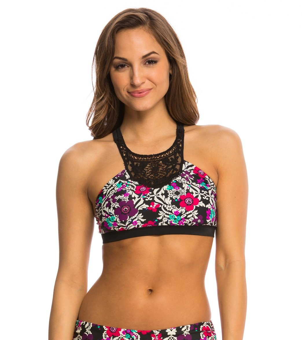 3e9c28127c Jessica Simpson Swimwear It Girl High Neck Lace Bra Bikini Top at  SwimOutlet.com - Free Shipping