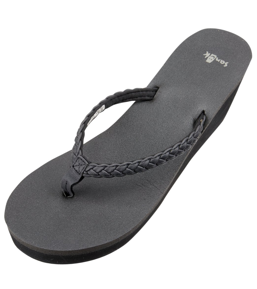 f81af0708fef Sanuk Women s Yoga Braided Wedge Flip Flop at SwimOutlet.com