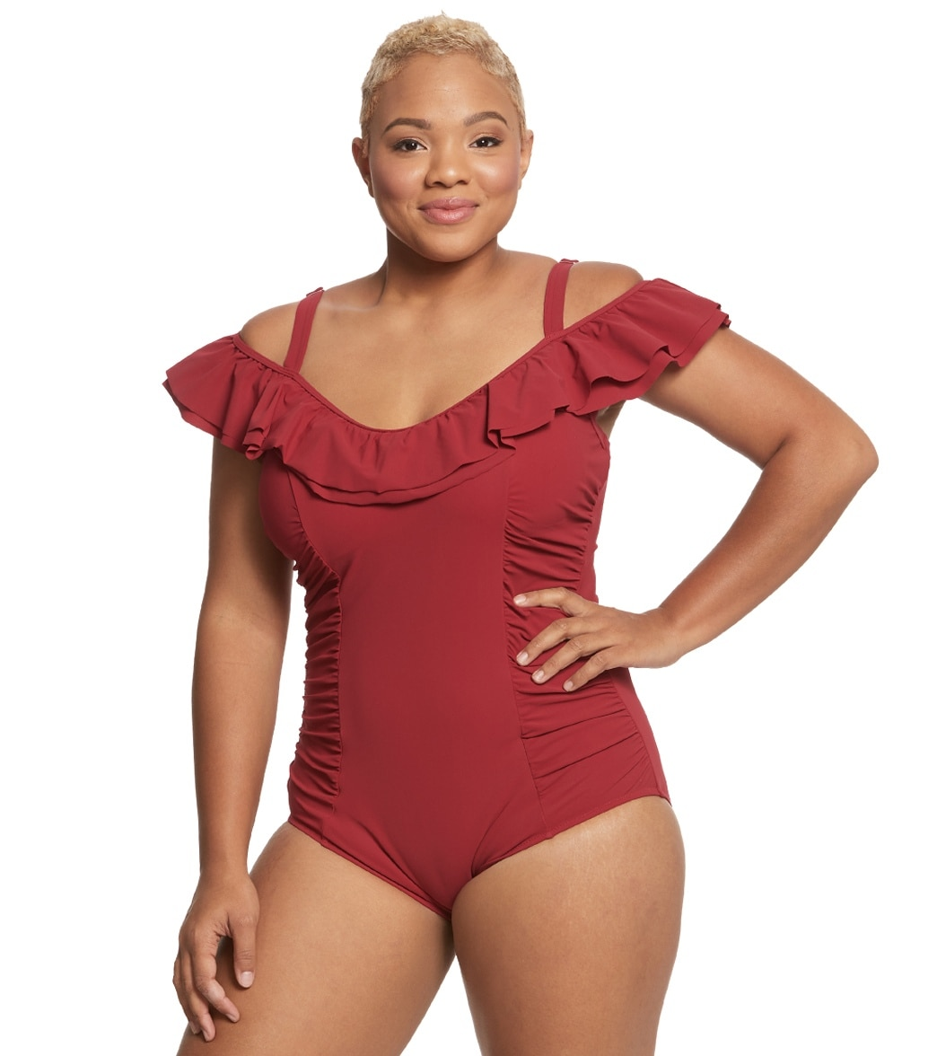 d4cffb18fa7 Profile by Gottex Plus Size Tutti Frutti Off The Shoulder One Piece Swimsuit  at SwimOutlet.com - Free Shipping