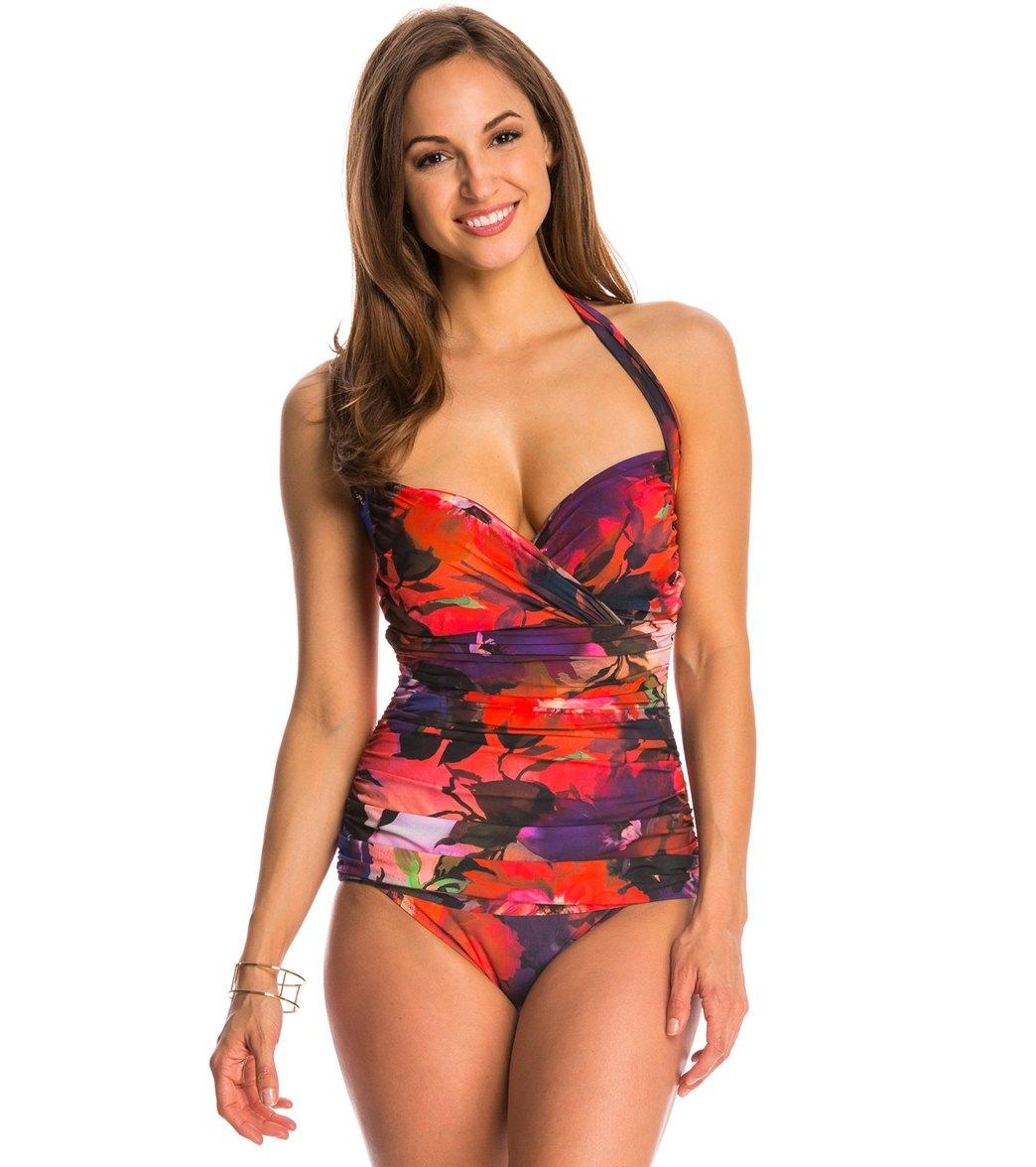 3dd3ec1500 Gottex Garden of Eden Molded Underwire Halter One Piece Swimsuit ...