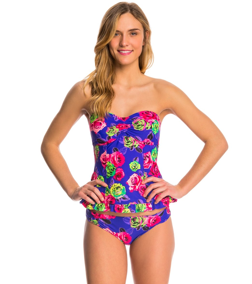 421e4a8e62dc3 Betsey Johnson Swimwear Mysterious Rose Bandeaukini Top at ...