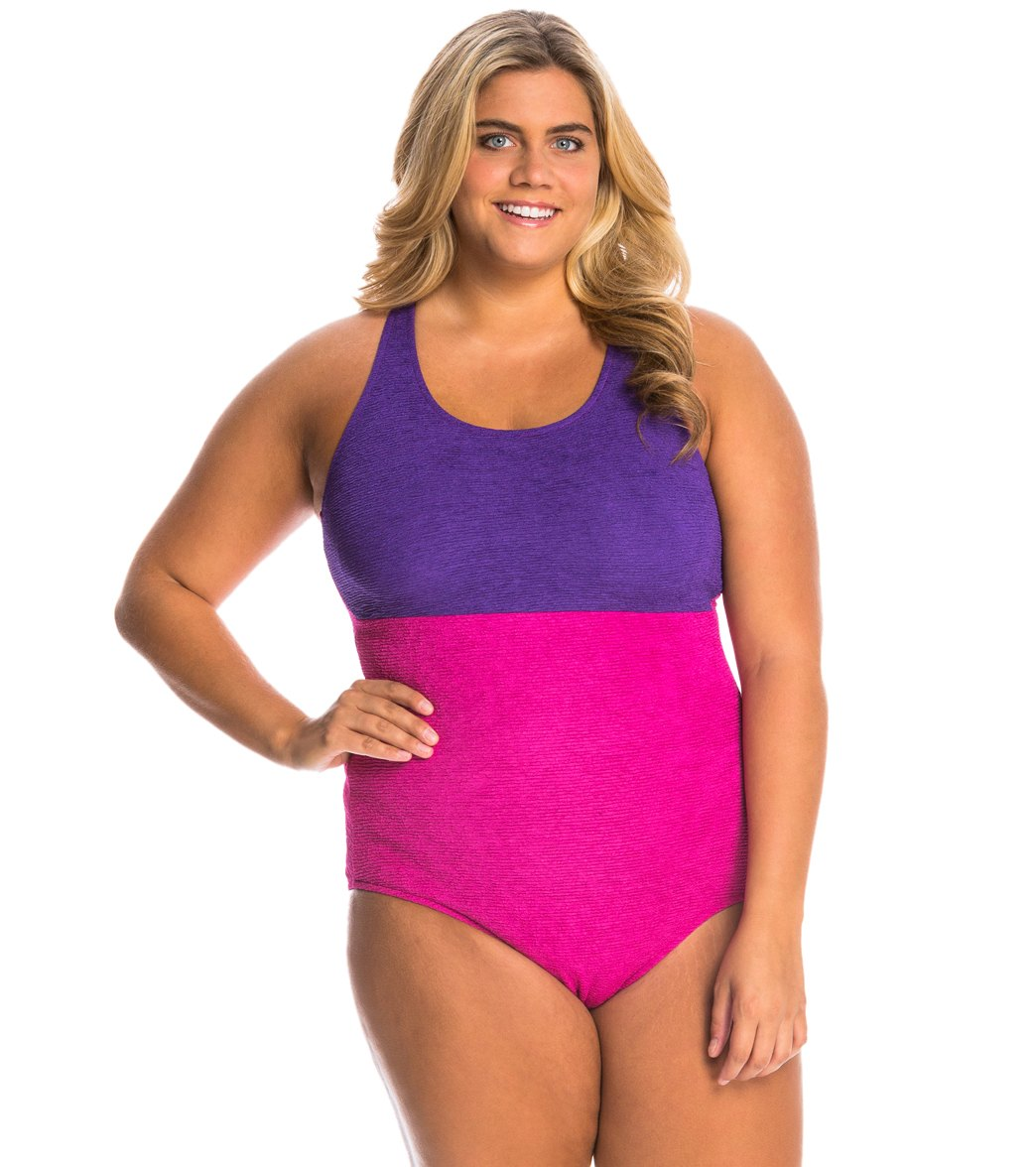 4f06e58d453 Sporti Plus Size Textured High Neck Colorblock One Piece Slimsuit at  SwimOutlet.com - Free Shipping